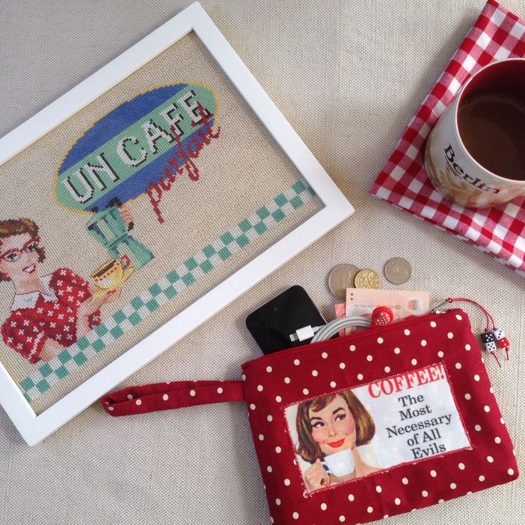 Handmade by me, coffee-themed cross-stitch piece & linen pouch