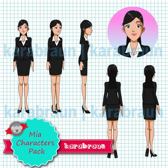Char 001 Mia Characters Pack, digital character, illustration, e-learning, presentation, powerpoint, animation [Char001Mia]