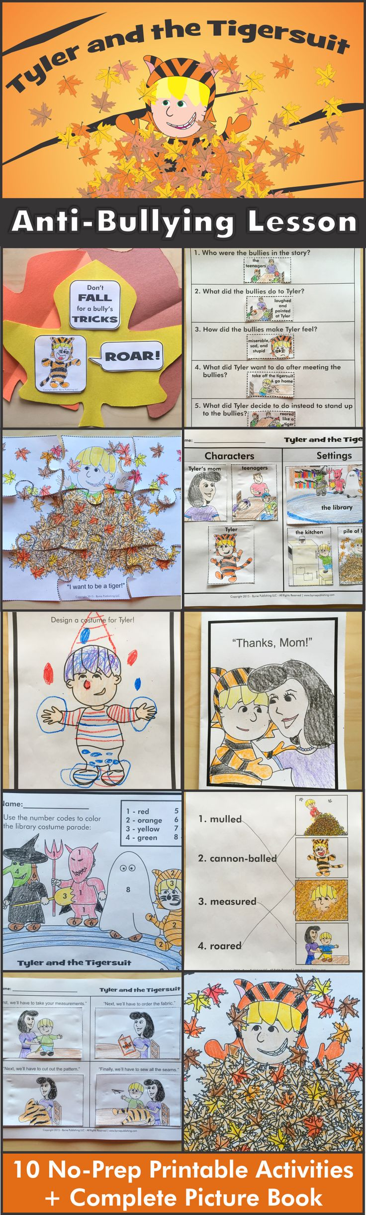 October is National Bullying Prevention Month! This lesson uses kids' natural interest in Halloween to discuss bullying. It includes 10 no-prep printable activities and a picture book. https://www.teacherspayteachers.com/Product/Anti-Bullying-Halloween-Lesson-with-10-Activities-FREE-picture-book-2127905