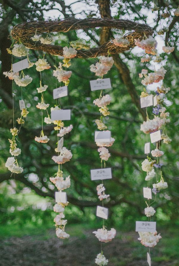 hanging floral escort cards #bohowedding #hangingflowers http://www.weddingchicks.com/2013/12/03/enchanting-boho-chic-wedding/