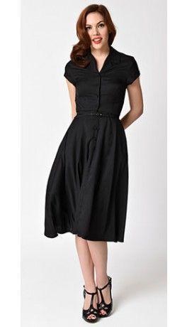 Unique Vintage 1950s Style Black Alexis Short Sleeve Swing Dress