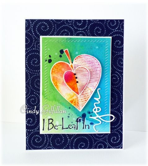 Card by Cindy Gilfillan using Darkroom Door Carved Leaves Vol 2 Rubber Stamps