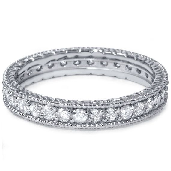 Stackable Diamond .60CT Vintage Eternity Ring Womens Wedding Band Anniversary 14K White Gold Size 4-9 £183