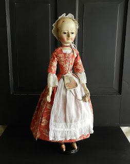 "The Old Wooden Sisters: Lady Annabelle , Queen Anne doll reproduction , 21"" tall by Alena Sinel"