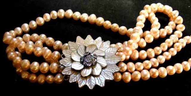 PINK HUES PEARL NECKLACE PLUS 12 FREE PEARLS 90689 pearl necklace,fresh water pearl,