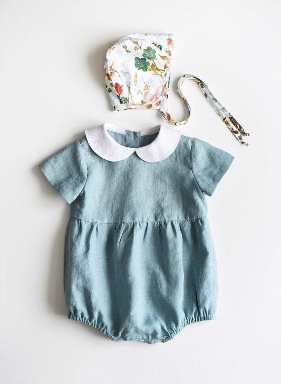 013f3bbd0c11 Linen Baby Romper Linen Baby Onesie Peter Pan Collar Baby