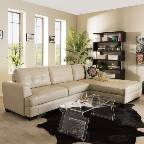 Baxton Studio Dobson Modern Cream Bonded Leather Sectional Sofa ($1,013) ❤ liked on Polyvore featuring home, furniture, sofas, beige, ivory couch, cream colored sofa, off white sofa, bonded leather sectional and modern couches