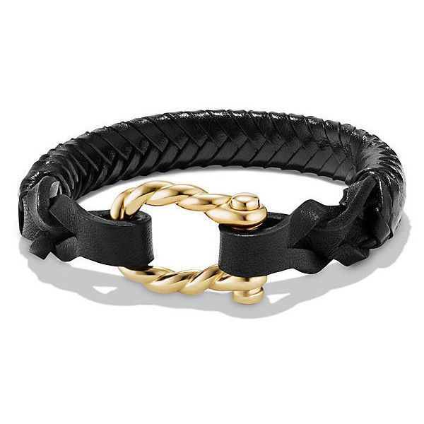 David Yurman Maritime Leather Woven Shackle Bracelet in Black Leather... (16,835 EGP) ❤ liked on Polyvore featuring men's fashion, men's jewelry, men's bracelets, mens gold bracelets, mens woven leather bracelets, mens leather bracelets, mens leather braided bracelets and mens yellow gold bracelets