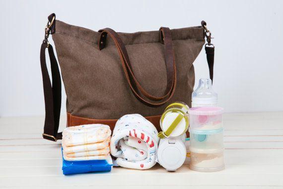 Faltbare Tasche, Wickeltasche, große Tote Wickeltasche canvas, 6 Taschen Nappy Bag Canvas Leder Tote/Large Windel Tasche festgelegt, große Wickeltasche Baby Bag