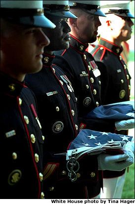 September 23rd 2011, Marines at Camp David just after raising the flag back to full staff.  Never forget September 11th 2001.