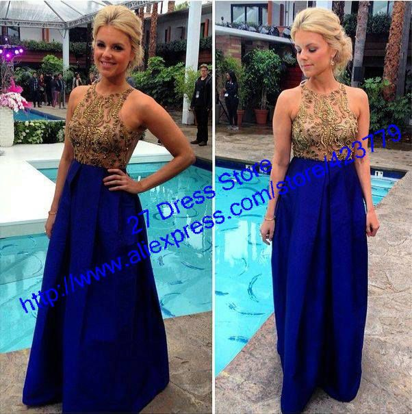 New Arrival Dark Royal Blue Round Collar Prom Dresses 2014 Long Sexy Gold  Beaded Top Formal