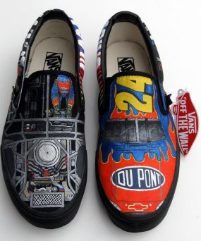 These custom Jeff Gordon NASCAR shoes would make a lasting impression on race day!