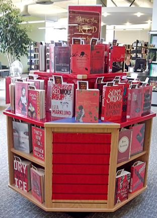 """St. Thomas Public Library (St. Thomas, ON) has done a series of color-based displays, revolving around puns in the displays and the """"rate this book"""" bookmark. Click through to read about """"Have you RED this book yet?"""" More on their board: https://www.pinterest.com/StThomasLib/library-displays/"""