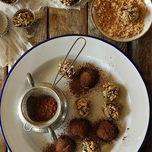 Nutty Chocolate Truffles by Nessa Robins.   Creamy chocolate and nutty goodness - the perfect afternoon treat.