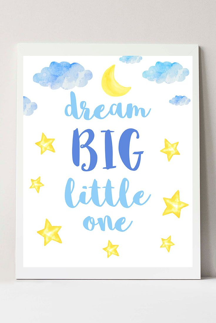 Dream big little one art baby nursery wall decor nursery wall art