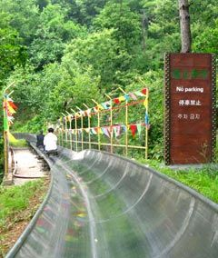 Slide down the Great Wall of China! (take a chair lift up, sightsee, then slide back down -- located at Mutainyu in the Huairou District of Beijing)