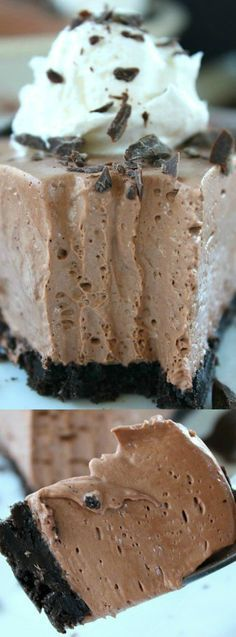This Chocolate Cream Cheese Pie from Great Grub, Delicious Treats is a rich and creamy dessert that you are really going to love! Chocolate lovers won't be able to resist the creaminess in every bite — and don't even get us started on the Oreo cookie crust.