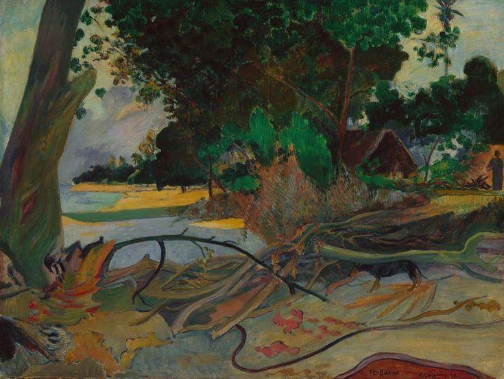 """""""Der Hibiskus Baum"""", öl auf leinwand von Paul Gauguin (1848-1903, France)"""