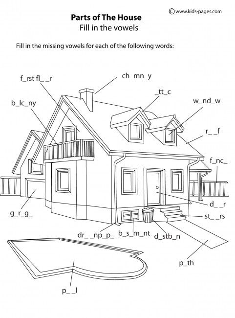 Kids pages house parts b w exercises english for Home design vocabulary
