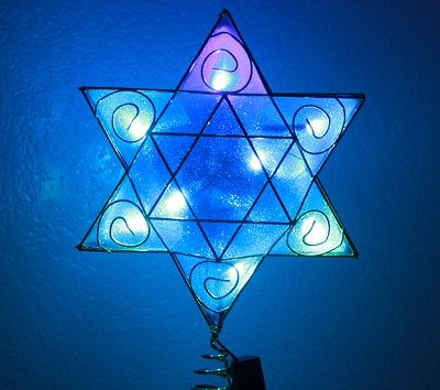 Look at our Hanukkah Tree Topper all lit up! #chrismukkah #mytreetopper