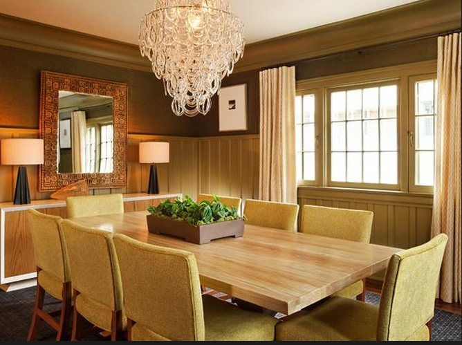 Dining Room Fascinating Design With Unique Wooden Table Plus 8 Classic Chairs And Decorated Wonderful Crystal Chandelier