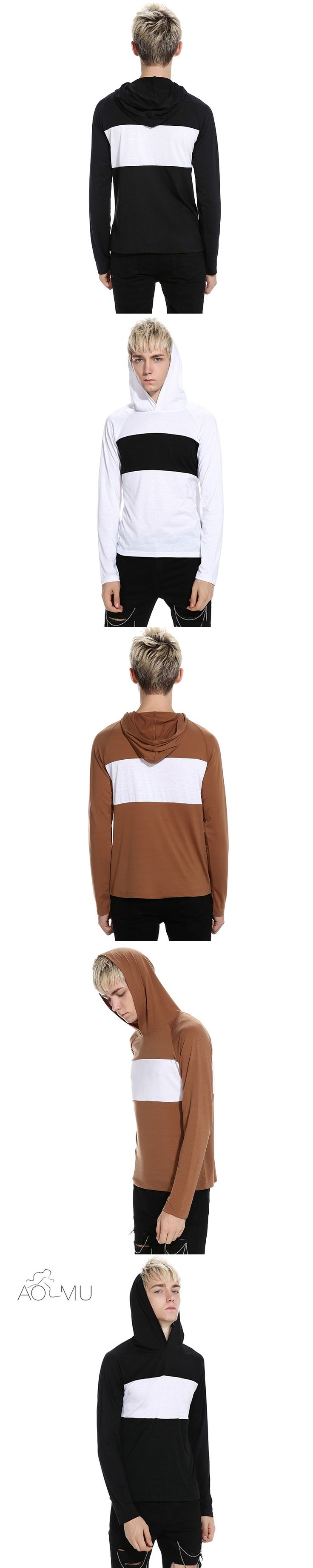 AOMU Mens Loose Cotton Hooded Hoodies Golds Gyms Clothing Workout Slim Fit Sweatshirts Male Striped Tracksuit Sportswear
