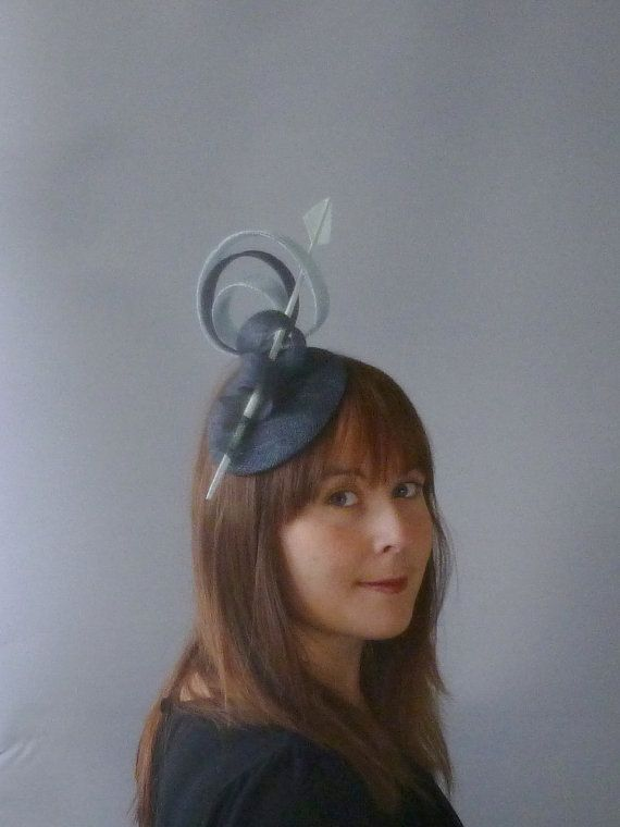 Dark Grey Fascinator Cocktail Hat. Sinamay and by SophieShields
