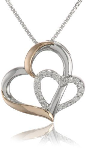 14 best love heart necklaces images on pinterest heart necklaces xpy 14k rose gold and sterling silver double heart pendant necklace 18 1 mozeypictures Images