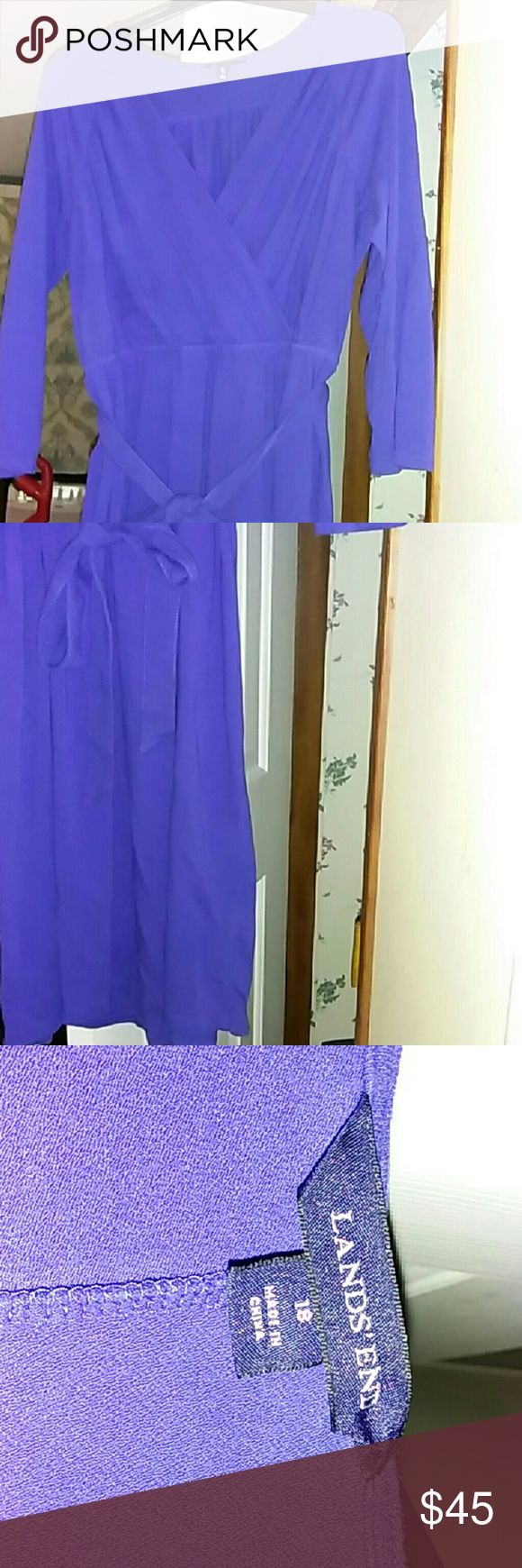 """Lands' End wrap look dress, EUC Gorgeous true royal blue, wrap look dress. 42"""" length from shoulder to hem. Waist across front unstretched is 18"""". It will stretch to 26"""", but I feel that would warp the lay of the dress. Chest is 24"""", across the front, but there would be A LOT of give with that considering the style. For those of us with smaller """"girls"""", you can use a safety pin to keep the top closed more. This was worn once and washed.  Throw on some heels and paint the town...Blue ❤ Lands'…"""
