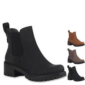 Damen-Stiefeletten-Chelsea-Boots-Blockabsatz-Schuhe-77129-New-Look