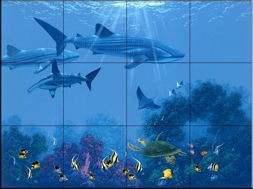 Whale Shark by Kenneth Aunchman | Tile Mural for Kitchen Backsplash | Bathroom Wall Tile Mural by The Tile Mural Store, http://www.amazon.co.uk/dp/B00A5TGAWS/ref=cm_sw_r_pi_dp_DSbVsb1Y2S7VA