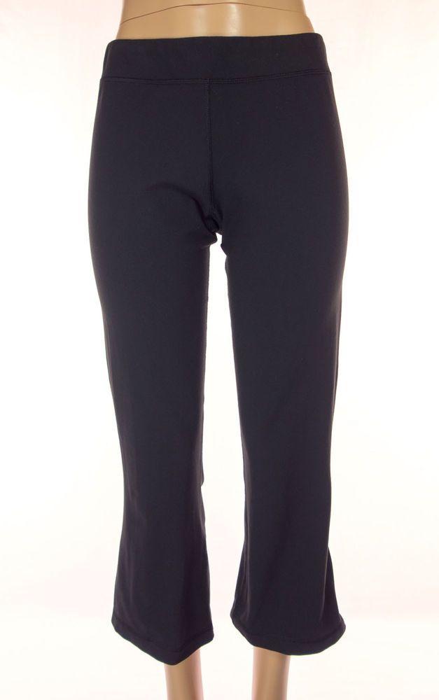 LULULEMON Crops Size 12 L Black Blue Drawstring Vtg Pants Slit Hems Rare #Lululemon #PantsTightsLeggings