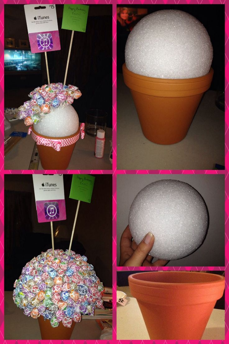 Cute little dum-dum tree, cute and inexpensive gift. You can even add a little card and any kind of gift card onto a stick and stick it in the styrofoam ball.