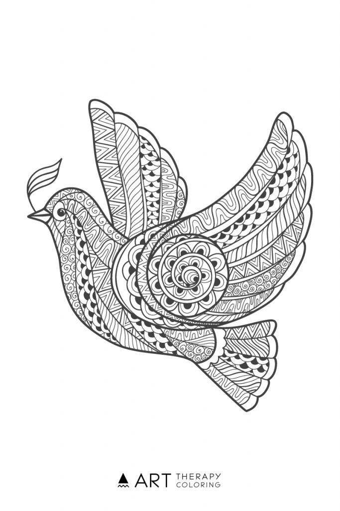 89 Coloring Pages Dove Bird