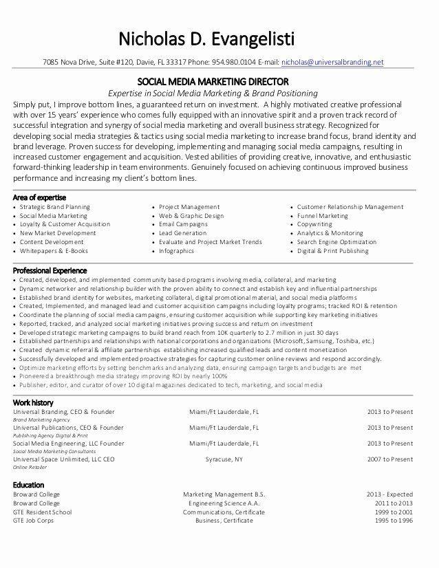 Social Media Manager Resumes Awesome Nicholas Evangelisti Social Media Marketing Director Resume In 2020 Marketing Resume Manager Resume Project Manager Resume