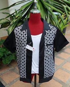 Handmade 1950's Style Mens Rockabilly Retro Bowling Shirt Black & White  Print
