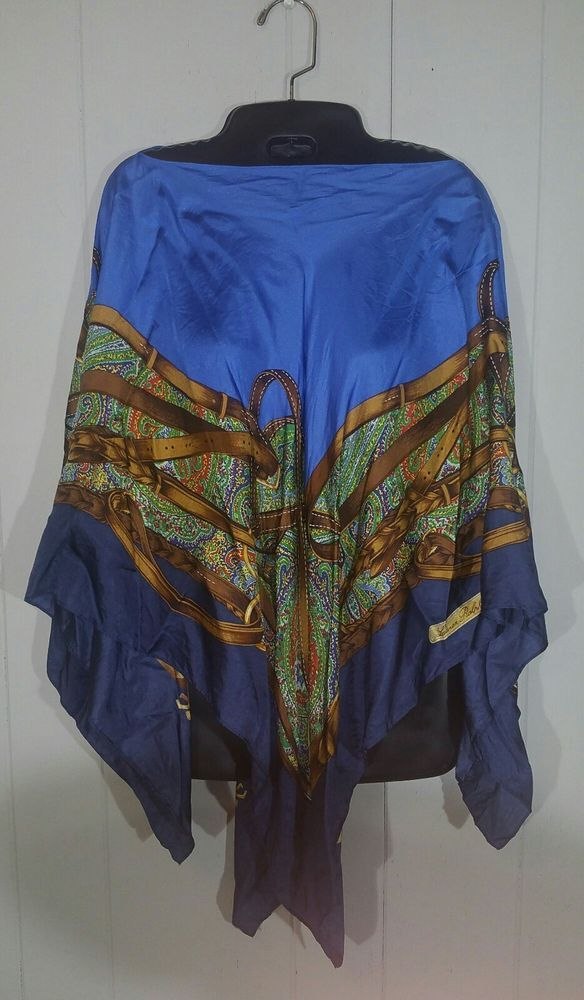 Ralph Lauren Equestrian Preppy 100% Silk Shawl Poncho Scarf Blouse One Size | Clothing, Shoes & Accessories, Women's Clothing, Tops & Blouses | eBay!