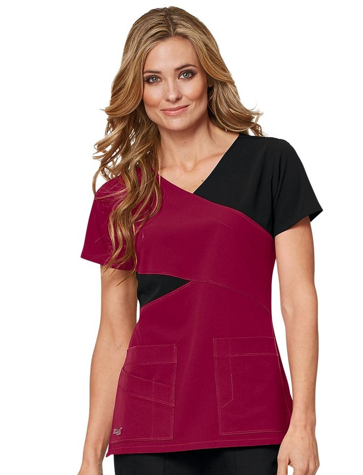 Grey's Anatomy Signature 3 Pocket Mock Wrap Scrub Top