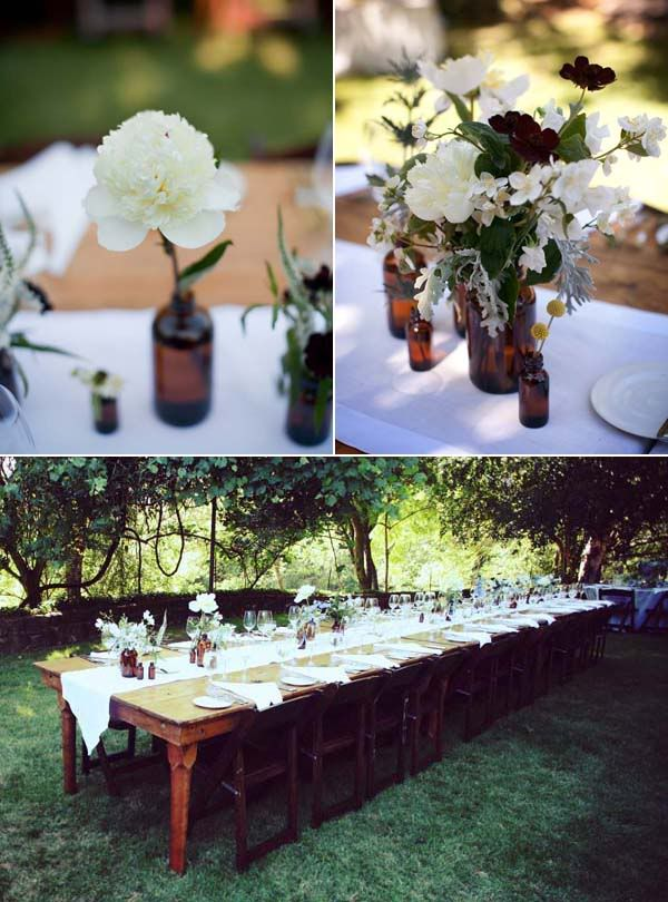 Love the long style table for a wedding! Bottles as vases very cute, wild flowers even better!!!White Flower, Floral Design, Flower Jars, Gardens Chairs, Wedding Amber Bottle, Outdoor Flower, Farms Tables, Long Tables, Dark Flower