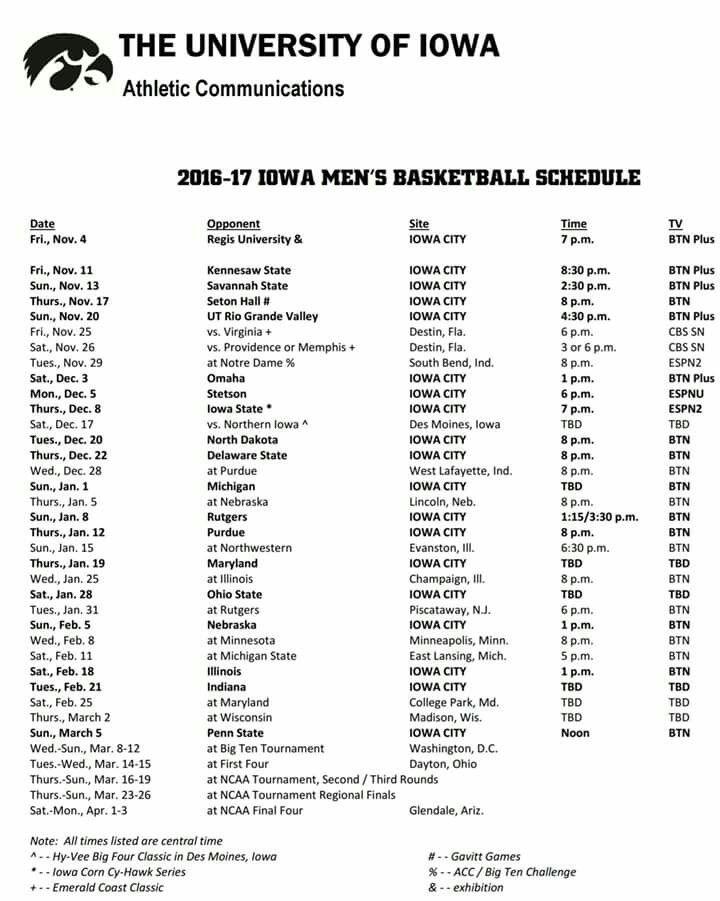 2016-2017 MEN'S BASKETBALL SCHEDULE