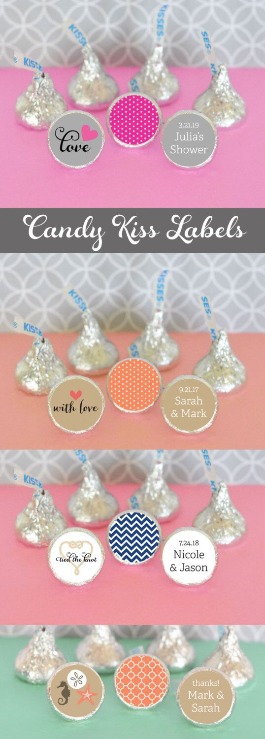 Bridal Shower Hershey® Kiss Labels - Stickers for Candy Kisses - Wedding Chocolate Kisses - Personalized Hesheys® Kisses 108 PRINTED labels by ModParty on Etsy https://www.etsy.com/listing/183497185/bridal-shower-hershey-kiss-labels