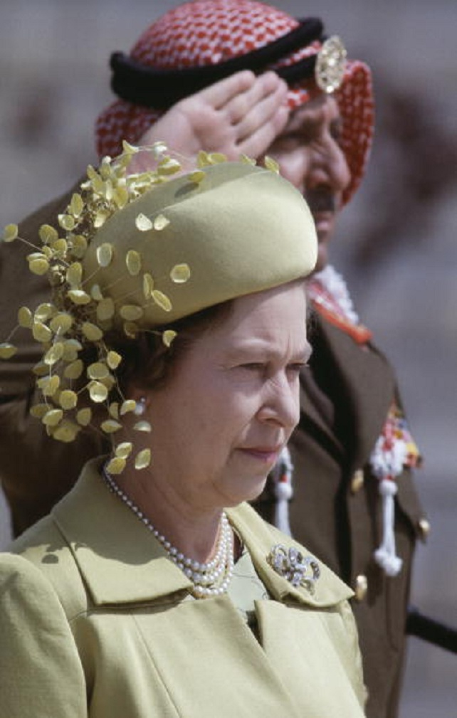 British Royalty, Royal Tour to Jordan, March 1984, Queen Elizabeth II wearing a green coat and hat