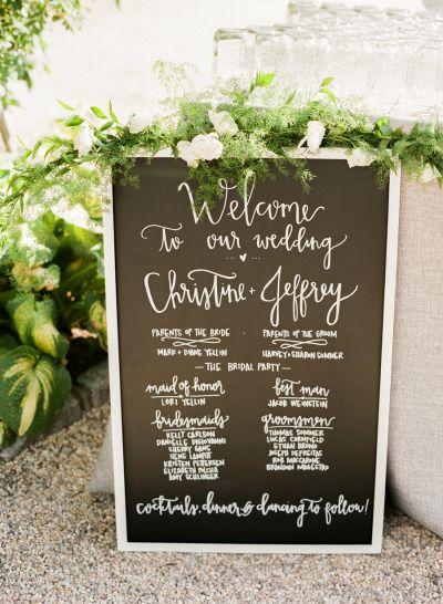 Chalkboard sign: http://www.stylemepretty.com/2015/02/25/elegant-summer-wedding-at-bedell-cellars/ | Photography: Lindsay Madden - http://www.lindsaymaddenphotography.com/