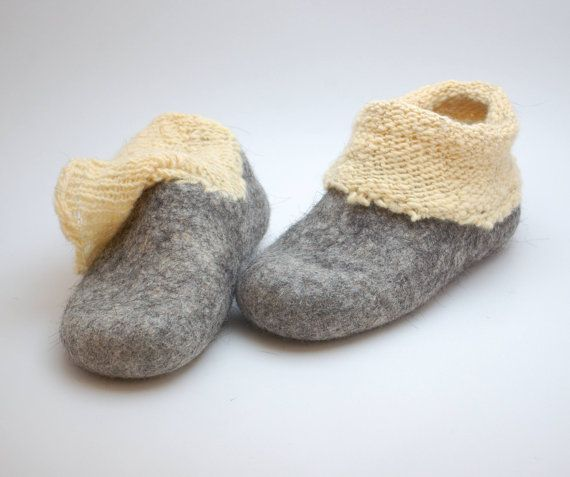 Felt wool slipper boots with knitted ankle organic от WoolenClogs