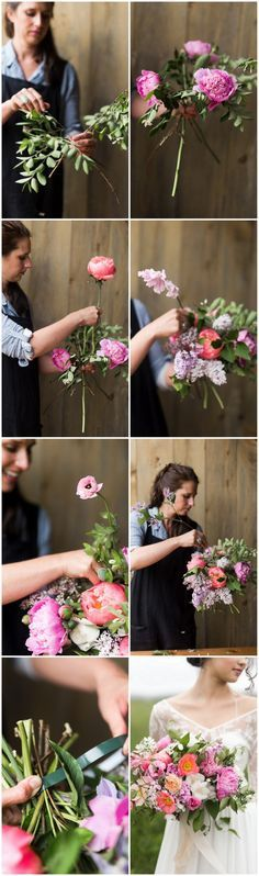 Learn how to make a lush hand tied garden bouquet. Tutorial with full instructions by Blossom & Vine, flower names + photos by JenS Photography, using peonies, ranunculus, clematis + poppies. via @confettidaydreams http://www.confettidaydreams.com/hand-tied-garden-bouquet-tutorial/