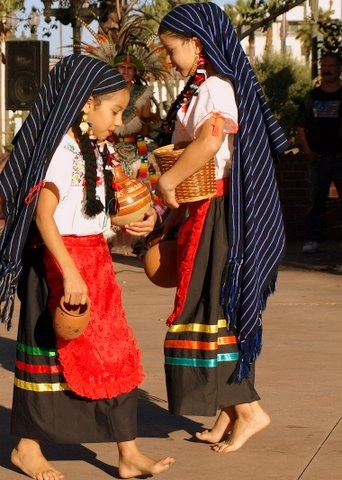Michoacán Mexican children wearing traditional clothing -