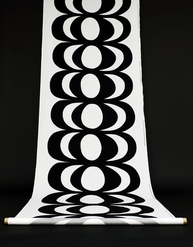 Kaivo /  Design Maija Isola for Marimekko. /  The inspiration for the classic Kaivo (well) pattern came to Maija Isola in 1964, as she dropped a bucket into a well and watched ripples form on the water surface.
