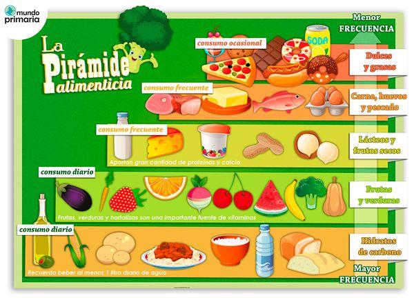 La alimentación ha de ser variada y seguir la pirámide alimenticia para niños de primaria. Aprende a alimentarte bien con esta infografía educativa. #infografia #primaria #alimentacion