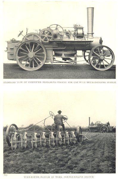 FARMING: Steam Plough; Ploughing Engine. Turn-Round Plough at work; print 1912 in Art, Prints, Modern (1900-79) | eBay