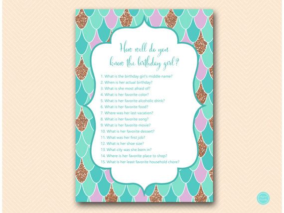 Mermaid Birthday Party Games Who knows the by MagicalPrintable #babyshowerideas4u #birthdayparty  #babyshowerdecorations  #bridalshower  #bridalshowerideas #babyshowergames #bridalshowergame  #bridalshowerfavors  #bridalshowercakes  #babyshowerfavors  #babyshowercakes